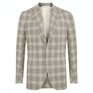 Neutral Wool Blend Check Single-Breasted Posillipo Jacket