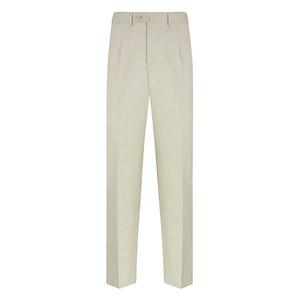 Cream Cotton Single-Pleated Trousers
