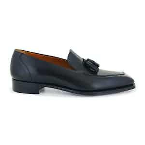 Black Calf Leather Cornishe Tassel Loafers