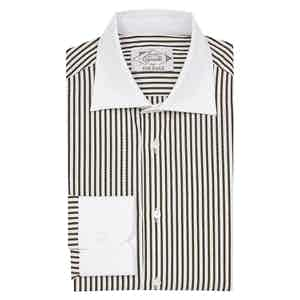 Brown Cotton Striped Contrast Collar Classic Shirt