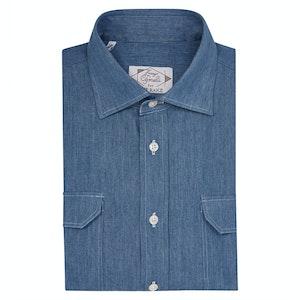 Blue Cotton Denim Safari Sport Shirt
