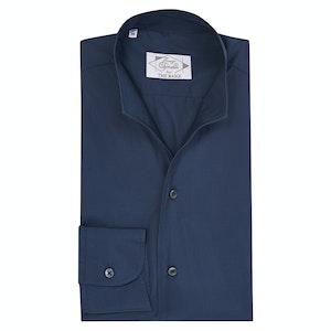 Navy Cotton Indian Collar Sport Shirt