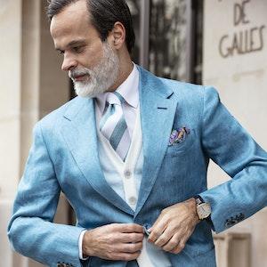 Light Blue Knitted Cotton Waistcoat