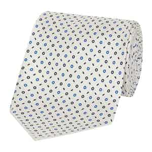 White And Blue Silk Tie