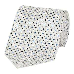 White And Blue Silk Tie