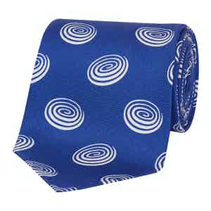 Electric Blue Circle Pattern Silk Tie