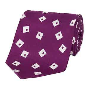 Pink And White Floppy Disk Pattern Silk Tie