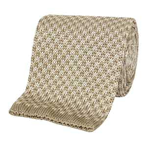 Beige Diamond Pattern Silk Tie