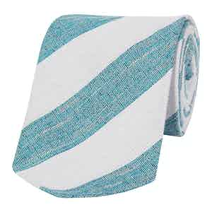Turquoise And White Silk Club Tie