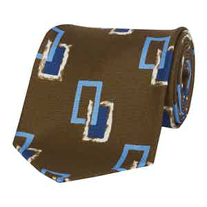 Brown Blue And White Rectangle Silk Tie
