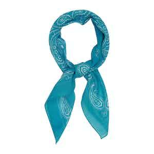 Turquoise Cotton Paisley Scarf