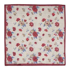 Beige and Pink Cotton Floral Pocket Square