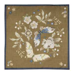 Khaki Brown Cotton Floral Pocket Square