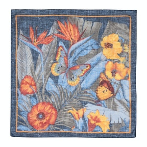 Blue and Orange Cotton Floral Pocket Square
