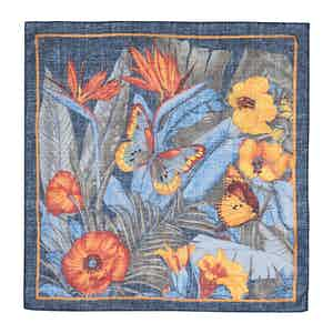 Blue and Orange Cotton Floral Pocket Square