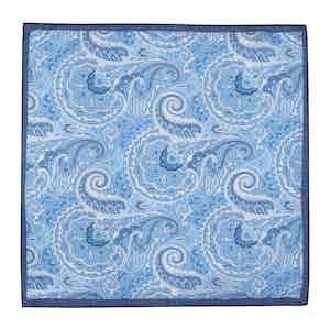 Light Blue Cotton Paisley Pocket Square