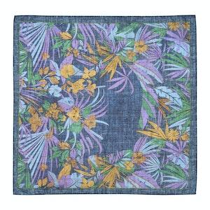 Blue and Purple Cotton Floral Pocket Square