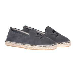 Carbon Grey Palm Springs Skull Suede Espadrilles