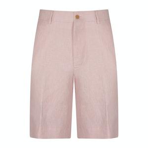 Pink Linen Unlined Beach Shorts