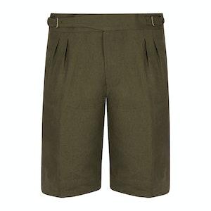 Khaki Linen Unlined Gurkha Shorts