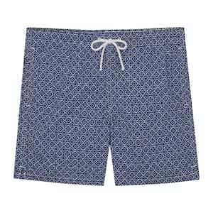 Navy Polyamide Mosaic Printed Swim Shorts