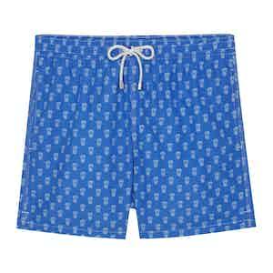 Blue Polyamide Pineapple Printed Swim Shorts