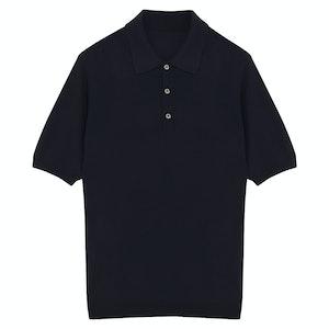 Navy Lightweight Merino Wool Short-Sleeved Polo Shirt