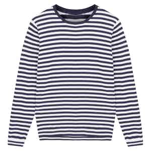 Navy Soft Cotton Striped Knitted Sweater
