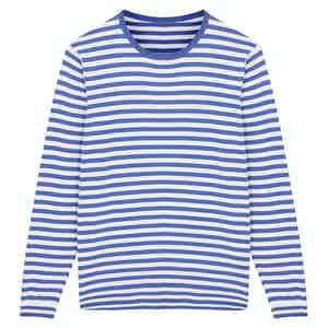 Blue Soft Cotton Striped Knitted Sweater