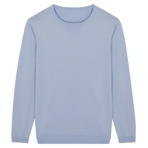 Sky Blue Soft Cotton Knitted Long-Sleeved Crewneck Sweater