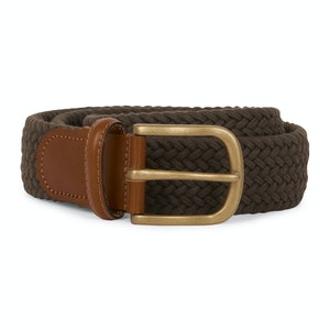 Dark Brown Elastic Woven 35mm Belt