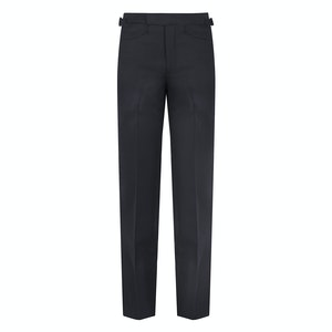 Navy Blue Wool Twill Flat-Fronted Comfort Waistband Connery Sport Trouser