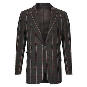 Dark Grey and Red Tweed Windowpane Check Sports Coat