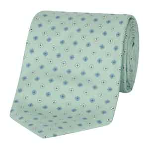 Mint Green Silk Graphic Floral Tie