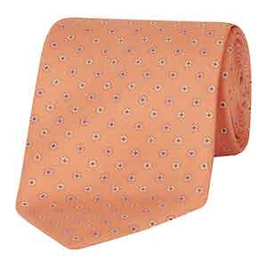 Orange Silk Graphic Floral Tie