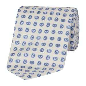 Light Blue and White Silk Paisley Print Tie