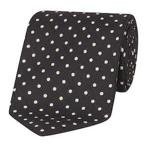 Black and White Silk Polka Dot Tie