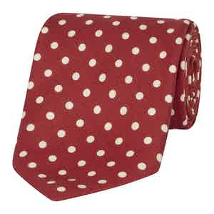 Red and White Silk Polka Dot Tie