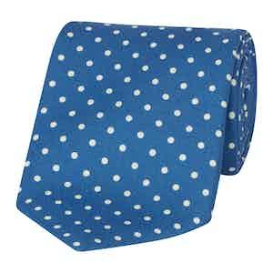 Blue and White Silk Polka Dot Tie