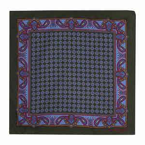 Forest Green Silk Paisley Pocket Square