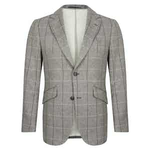 Grey Wool, Cotton & Cashmere Check Martin Jacket