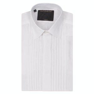 COLNE WHITE PLEATED PIN TUCKED DRESS SHIRT