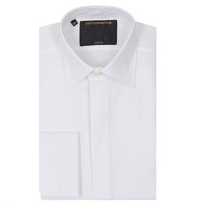 White Bib Front Cotton Dress Shirt