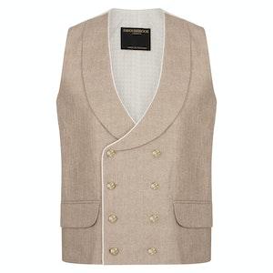 Halton Dusk Double-Breasted Cotton, Linen & Silk Patterned Waistcoat