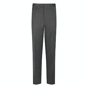 Grey Westminster Stripe High Waist Flat Front Wool Trousers