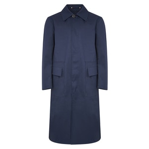 Navy Rubberised Cotton Duster Mac