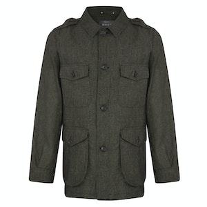 Dark Olive Linen Safari Jacket