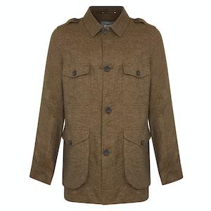 Rust Linen Safari Jacket
