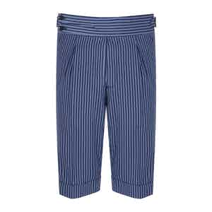 Azure Striped Seersucker Tailored Shorts