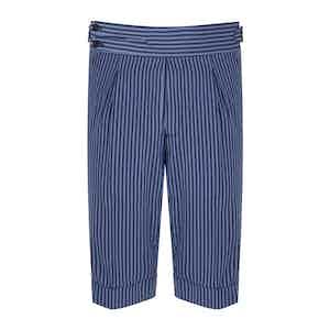 Azure Striped Seersucker Tailored Shorts